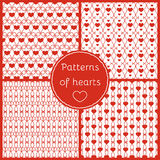 Set of seamless patterns for Valentine's day. Romantic backgrounds, patterns of hearts royalty free illustration