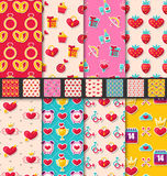 Set Seamless Patterns for Valentines Day. Illustration Set Seamless Patterns with Colorful Traditional Objects and Elements for Valentines Day. Collection Royalty Free Stock Image