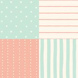 Set of 4 seamless patterns. Vector hand drawn illustration Royalty Free Stock Photo