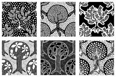 Set of seamless patterns, vector hand drawn repeating illustration, decorative ornamental stylized endless trees. Black and white. Abstract seamles graphic Stock Photos