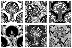 Set of seamless patterns, vector hand drawn repeating illustration, decorative ornamental stylized endless trees. Black and white. Abstract seamles graphic Royalty Free Stock Photos