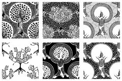 Set of seamless patterns, vector hand drawn repeating illustration, decorative ornamental stylized endless trees. Black and white. Abstract seamles graphic stock illustration
