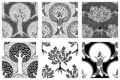 Set of seamless patterns, vector hand drawn repeating illustration, decorative ornamental stylized endless trees. Black and white. Abstract seamles graphic royalty free illustration