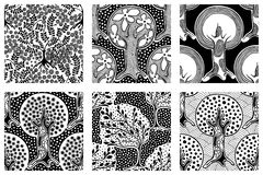 Set of seamless patterns, vector hand drawn repeating illustration, decorative ornamental stylized endless trees. Black and white. Abstract seamles graphic vector illustration