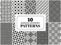 Set of seamless patterns. 10 seamless patterns. Vector illustration for fashion decoration. White black colors. Set of geometric textile texture background Stock Illustration