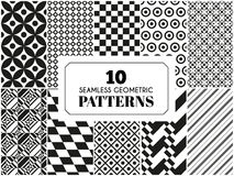 Set of seamless patterns. 10 seamless patterns. Vector illustration for fashion decoration. White black colors. Set of geometric textile texture background Vector Illustration