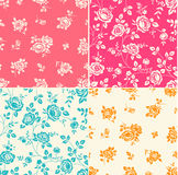 Set of seamless patterns with vintage roses. Floral background Royalty Free Stock Photo