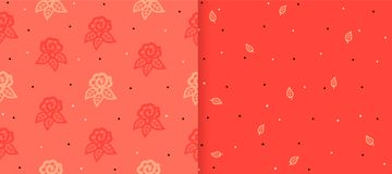 Set of seamless patterns with vintage roses. Vintage background with blooming flower silhouette. vector illustration