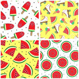 Set of seamless patterns with watermelon. Summer patterns. Vector. Simple backgrounds with watermelon. Set of seamless patterns with watermelon. Summer patterns Royalty Free Stock Photo