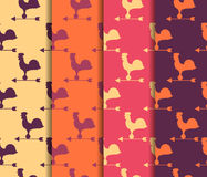Set of seamless patterns. Weather vane rooster. Vector. Stock Photos