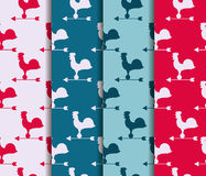 Set of seamless patterns. Weather vane rooster. Vector. Royalty Free Stock Photography