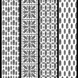 Set of seamless patterns with wheat. Black and white agricultura Stock Images