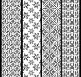 Set of seamless patterns with wheat. Black and white agricultura Royalty Free Stock Photos