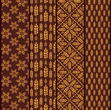Set of seamless patterns with wheat. Brown agricultural  Royalty Free Stock Photo