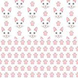 Set of seamless patterns with white cat face and paw prints. Colored vector backgrounds. royalty free illustration