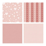 Set of 4 seamless patterns wih hearts Stock Photos