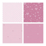 Set of 4 seamless patterns wih hearts Stock Images