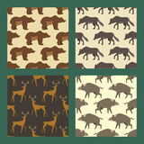 Set of seamless patterns with wild european animals. Stock Photography