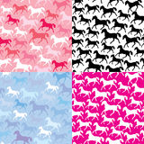 Set of seamless patterns with wild horses Royalty Free Stock Image