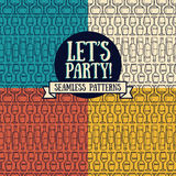 Set of seamless patterns with wine glasses and bottles Stock Images