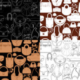 Set of seamless patterns with woman bags and handbags. Ready to Royalty Free Stock Photography
