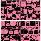 Set of seamless patterns with woman bags and handbags. Royalty Free Stock Photos