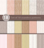 Set of 18 seamless patterns, wood, line art design. Used for wallpaper, print, pattern, fabric, Repetitive work, tile work Royalty Free Stock Photos