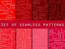 Set of seamless patterns. Words related to Valentine's Day. The Royalty Free Stock Photography
