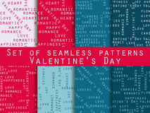 Set of seamless patterns. Words related to Valentine's Day. Vect Stock Photo