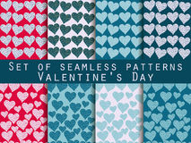 Set of seamless patterns. Words related to Valentine's Day. Vect. Set of seamless patterns with hearts and the words Royalty Free Stock Image