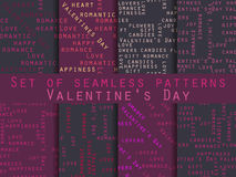 Set of seamless patterns. Words related to Valentine`s Day. Vector. Illustration Stock Photography