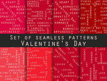 Set of seamless patterns. Words related to Valentine`s Day. Vector. Illustration Royalty Free Stock Photos