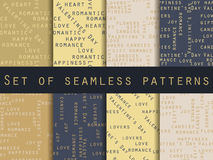 Set of seamless patterns. Words related to Valentine& x27;s Day. The pattern for wallpaper, tiles, fabrics and designs. Royalty Free Stock Images