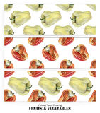 Set of seamless patterns with yellow and orange peppers drawn by hand with colored pencil. Healthy vegan food. Fresh tasty vegetables painted from nature Stock Photo