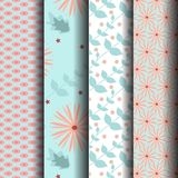 Set Seamless pattrsn Blue Pink. Can be used endlessly Stock Photos