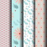 Set Seamless pattrsn Blue Pink Stock Photos