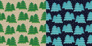 Set of seamless pine tree pattern Royalty Free Stock Image