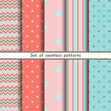 Set of seamless pink pattern vector illustration