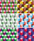 Set of seamless prismatic patterns vector illustration
