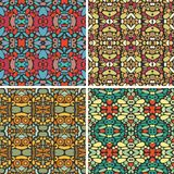 Set of seamless psychedelic ornaments. Royalty Free Stock Photo