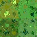 Set of seamless repeating patterns of palm leaves. Vector stock illustration