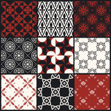 Set of seamless retro decorative patterns. Set of nine white, black and red seamless retro vector decorative patterns Stock Photography