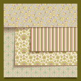 Set of seamless retro fabric or paper patterns stock illustration