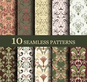 Set of 10 seamless retro. Patterns can be used for wallpaper, website background, textile printing Royalty Free Illustration