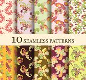 Set of 10 seamless retro. Patterns can be used for wallpaper, website background, textile printing Stock Illustration