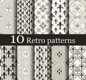 Set of 10 seamless retro patterns. Can be used for wallpaper, website background, textile printing vector illustration