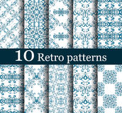 Set of 10 seamless retro patterns. Can be used for wallpaper, website background, textile printing royalty free illustration