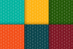 Set of seamless retro patterns with currency symbols. Vector. Set of seamless retro patterns with isometric line icons currency symbols. Vector illustration Royalty Free Stock Photo