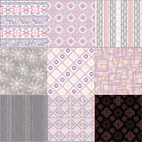 A set of seamless retro traceries. A colorful  set of seamless retro ornaments Royalty Free Stock Photo