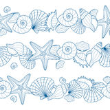 Set of seamless ribbons with seashells and starfishes Stock Photos